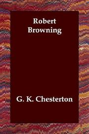 Cover of: Robert Browning by G. K. Chesterton