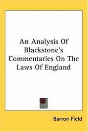 Cover of: An analysis of Blackstone's Commentaries on the laws of England by Barron Field