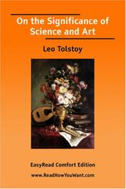 Cover of: On the Significance of Science and Art by Leo Tolstoy