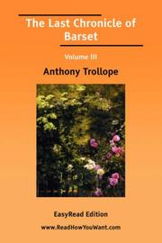Cover of: The Last Chronicle of Barset Volume III by Anthony Trollope