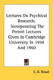 Cover of: Lectures on psychical research by Broad, C. D.