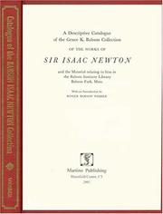 Cover of: A descriptive catalogue of the Grace K. Babson collection of the works of Sir Isaac Newton by Babson College. Library.