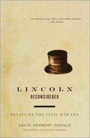 Cover of: Lincoln reconsidered by David Herbert Donald