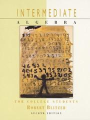 Cover of: Intermediate Algebra for College Students/Internet Guide 98 | Robert Blitzer