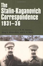 Cover of: The Stalin-Kaganovich correspondence, 1931-36 by Joseph Stalin