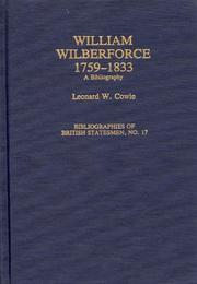 Cover of: William Wilberforce, 1759-1833 by Cowie, Leonard W.