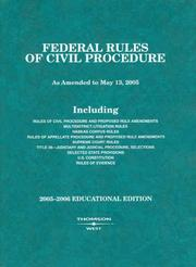 Cover of: Federal Rules of Civil Procedure 2005-2006 (Statutory Supplement) by West Publishing