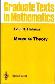 Cover of: Measure theory by Paul R. Halmos