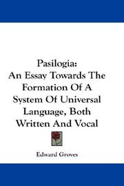 Cover of: Pasilogia by Edward Groves