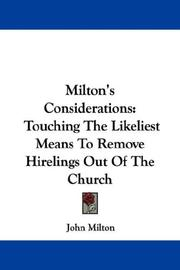 Cover of: Milton's Considerations by John Milton