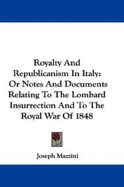 Cover of: Royalty And Republicanism In Italy by Joseph Mazzini