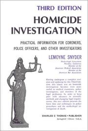 Cover of: Homicide investigation by LeMoyne Snyder