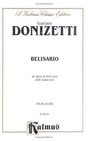 Cover of: Belisario by Gaetano Donizetti