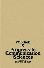 Cover of: Progress in Communication Sciences, Volume 10 by Brenda Dervin