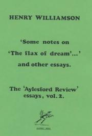 "Cover of: Some Notes on ""The Flax of Dream"" and Other Essays by Henry Williamson"