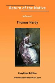 Cover of: Return of the Native Volume I by Thomas Hardy