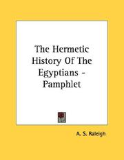 The Hermetic History Of The Egyptians - Pamphlet A. S. Raleigh