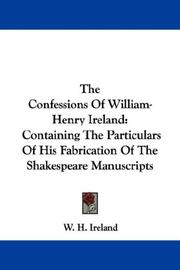 Cover of: Confessions of William-Henry Ireland by Ireland, W. H.