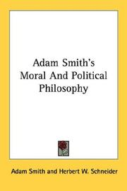 Cover of: Adam Smith's Moral And Political Philosophy by Adam Smith