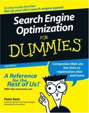 Cover of: Search Engine Optimization For Dummies by Peter Kent