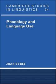 Cover of: Phonology and language use by Joan Bybee
