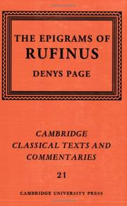 Cover of: The Epigrams of Rufinus by Rufinus (Epigrammatist), Denys Lionel Page