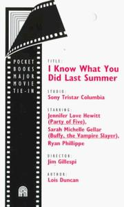 Cover of: I Know What You Did Last Summer by Lois Duncan