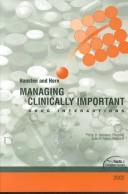 Cover of: Managing clinically important drug interactions by Philip D. Hansten