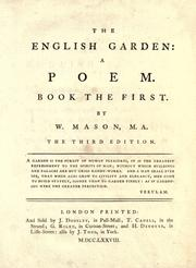 Cover of: The English garden by Mason, William