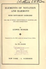 Cover of: Musikalische Elementarlehre by Bussler, Ludwig