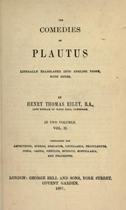 Cover of: Plays by Titus Maccius Plautus