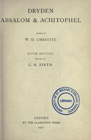 Cover of: Absalom and Achitophel by John Dryden