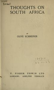 Cover of: Thoughts on South Africa by Olive Schreiner
