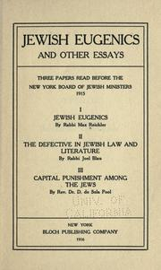 Cover of: Jewish eugenics by Max Reichler
