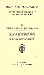 Cover of: Brain and personality by William Hanna Thomson
