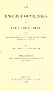 Cover of: The English Governess at the Siamese Court by Anna Harriette Leonowens