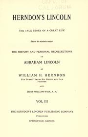 Cover of: Herndon's Lincoln by William Henry Herndon
