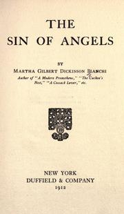 Cover of: The Sin Of Angels by Martha Dickinson Bianchi