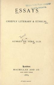 Cover of: Essays, chiefly literary & ethical by Aubrey De Vere