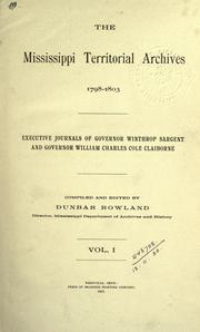 Cover of: The Mississippi territorial archives by Mississippi. Dept. of Archives and History.