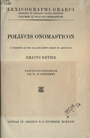 Cover of: Pollucis Onomasticon by Julius Pollux