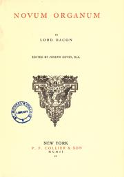Cover of: Novum organum by Sir Francis Bacon