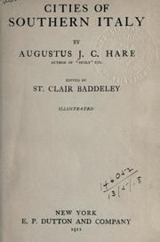 Cover of: Cities of southern Italy by Augustus J. C. Hare