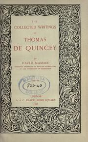 Cover of: The Collected Writings Of Thomas De Quincey by THOMAS DE QUINCEY