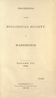 Cover of: Proceedings of the Biological Society of Washington by Biological Society of Washington.