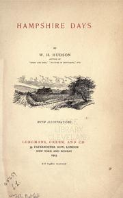 Cover of: Hampshire days by W. H. Hudson