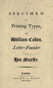 Cover of: A specimen of printing types by William Caslon