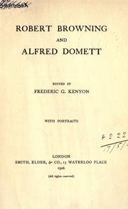 Cover of: Robert Browning and Alfred Domett by Robert Browning