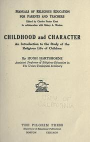 Cover of: Childhood and character by Hugh Hartshorne