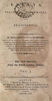 Cover of: Essays, political, economical, and philosophical by Rumford, Benjamin Graf von